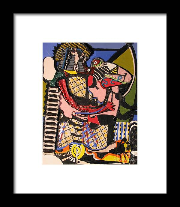Abstract Framed Print featuring the mixed media The Kiss Aka The Embrace After Picasso 1925 by Mack Galixtar