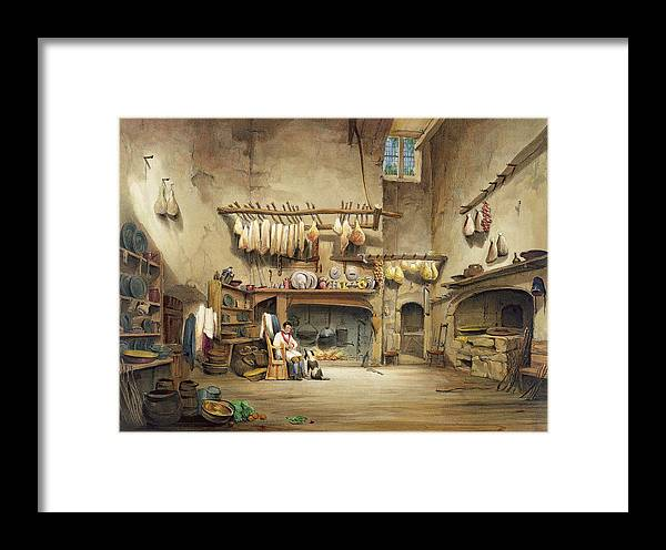 Cornish Stately Home Framed Print featuring the painting The Kitchen by English School