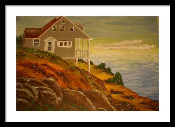 Cottage Framed Print featuring the painting The Lake Cottage by Raymond Sellers