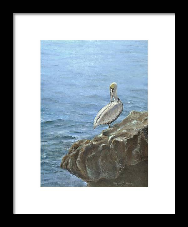 Seascape Framed Print featuring the painting The Lazy Day Bird by Maureen Pelkowski