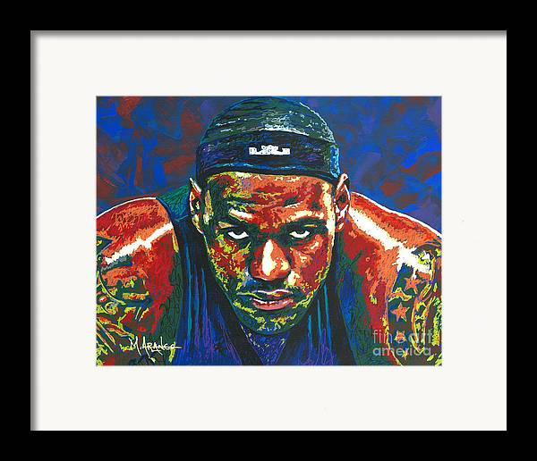 Lebron Framed Print featuring the painting The Lebron Death Stare by Maria Arango