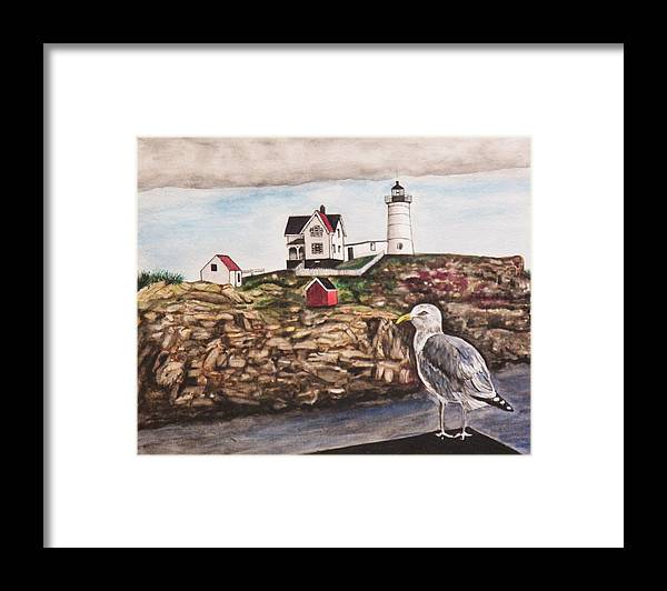 Seascape Framed Print featuring the painting The light House by Jim Reale