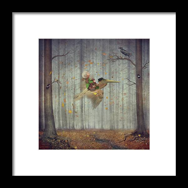 Flowerbed Framed Print featuring the digital art The Little Boy And Brown Pelican Fly by Maroznc