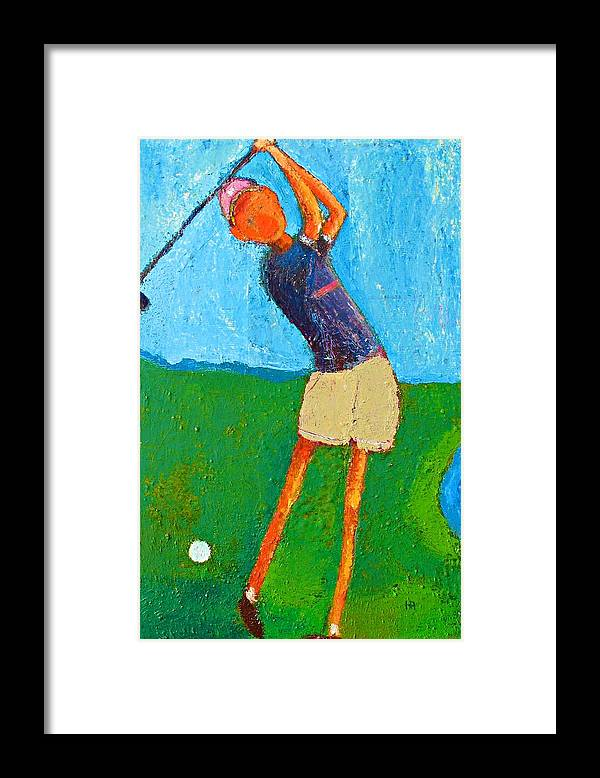 Abstract Framed Print featuring the painting The Little Golfer by Habib Ayat