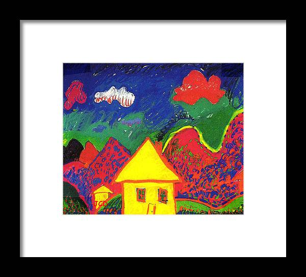 Montains Framed Print featuring the digital art The Little House In The Montains by Jean-Claude Delhaise