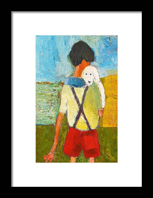 Abstract Framed Print featuring the painting The Little Puppy by Habib Ayat