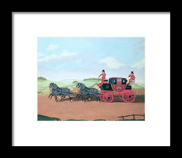 Post Framed Print featuring the photograph The Liverpool And London Royal Mail Coach, 1812 Oil On Canvas by James Pollard