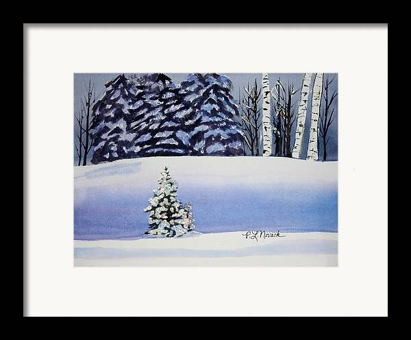 Christmas Framed Print featuring the painting The Lone Christmas Tree by Patricia Novack