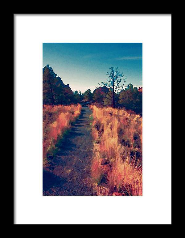 Path Framed Print featuring the photograph The Long Path by Bonnie Bruno