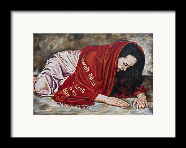 Ex 17:8-16 When Lifted Up Framed Print featuring the painting The Lord Is My Banner Yahweh Nissi by Ilse Kleyn