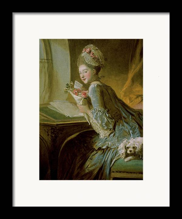 Fragonard Framed Print featuring the painting The Love Letter by Jean Honore Fragonard