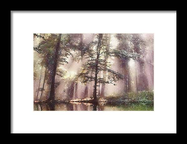 Forest Framed Print featuring the painting The magic forest by Odon Czintos