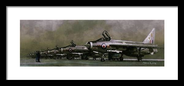 Raf 74 Squadron 1961 Coltishall English Electric Lightning Ee Framed Print featuring the painting The Man From The Ministry by Steve Kerry