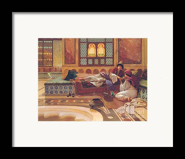 Manicure; Beauty; Spa; Treatment; Pampering; Leisure; Grooming; Female; Interior; Bath; Reclining; Nails; Nail Care; Exotic; Orientalist; Oriental; Tiles; Tiled; Stained Glass; Luxury; Opluent; Concubine; Odalisque; Harem; Relaxation; Manicurist; Beautician; Reclining Framed Print featuring the painting The Manicure by Rudolphe Ernst