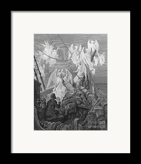 Angels; Ship; Vessel; Sailors; Dore Framed Print featuring the drawing The Mariner Sees The Band Of Angelic Spirits by Gustave Dore
