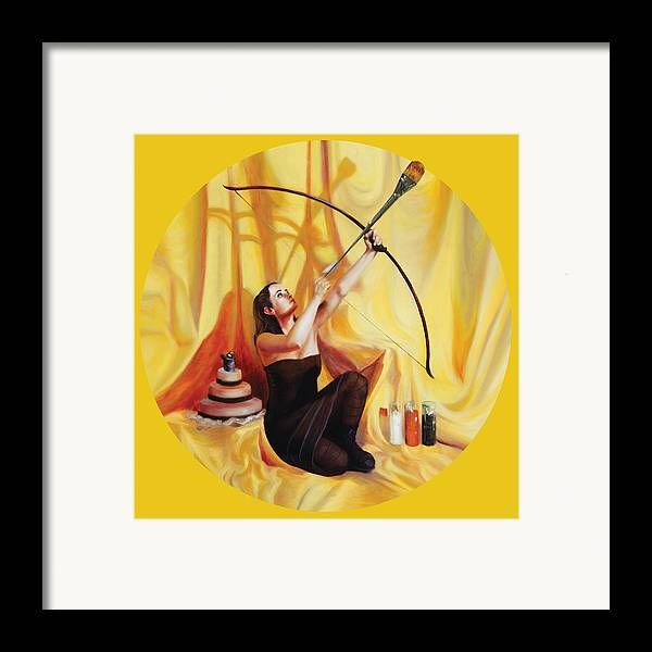 Shelley Irish Framed Print featuring the painting The Markswoman by Shelley Irish