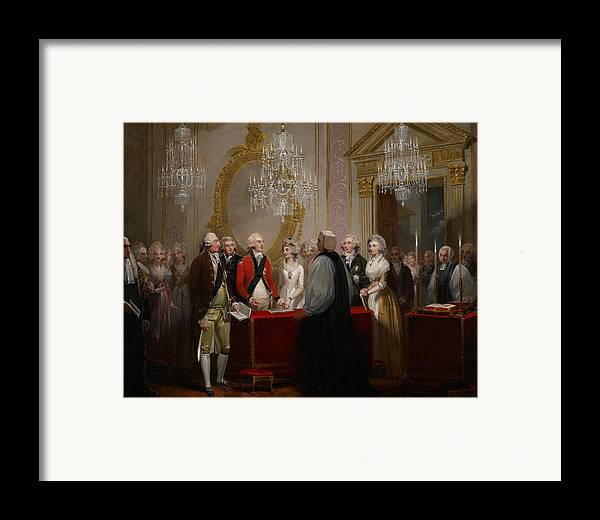 Chandelier Framed Print featuring the painting The Marriage Of The Duke And Duchess Of York by Henry Singleton
