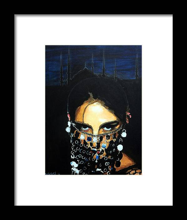 Mask Framed Print featuring the painting The Mask and The Mosque by Jean-Paul Setlak