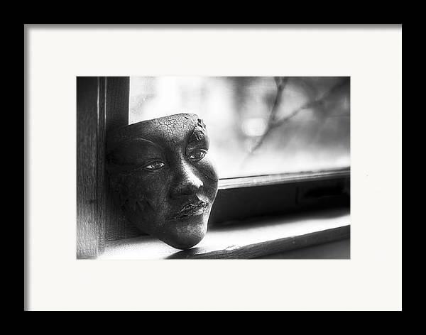 Black And White Framed Print featuring the photograph The Mask by Scott Norris