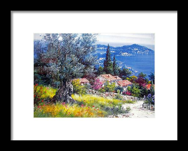 Painting Framed Print featuring the photograph The Med Sea In Summertime by Tina M Wenger