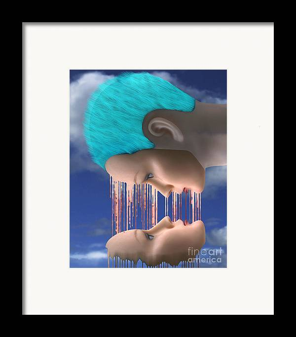 Surreal Digital Image Framed Print featuring the digital art The Melding by Keith Dillon