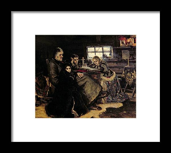 Father Framed Print featuring the photograph The Menshikov Family In Beriozovo, 1883 Oil On Canvas by Vasilij Ivanovic Surikov