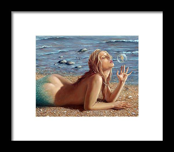 Seahorse Framed Print featuring the painting The Mermaids Friend by John Silver