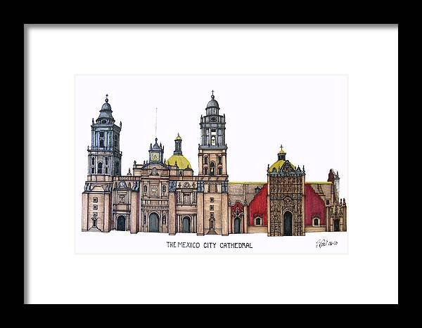Pen And Ink Drawings Framed Print featuring the drawing The Mexico City Cathedral by Frederic Kohli
