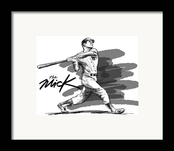 The Mick Framed Print featuring the drawing The Mick by Ron Regalado