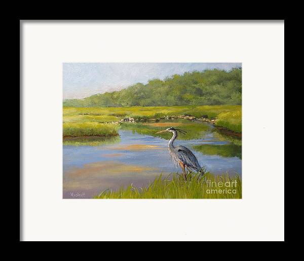 Blue Heron Framed Print featuring the painting The Millway Marsh by Karol Wyckoff