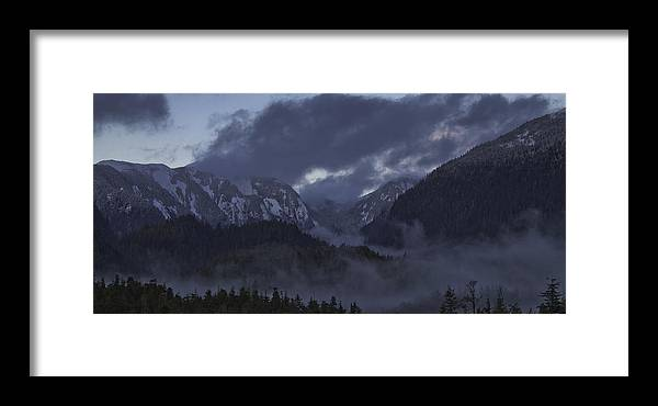 Landscape Framed Print featuring the pyrography The Mist by Timothy Latta
