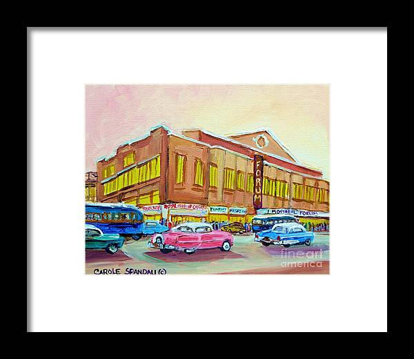 Montreal Framed Print featuring the painting The Montreal Forum by Carole Spandau
