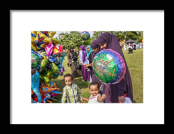 People Framed Print featuring the photograph The Muslim Festival Of Eid al-Fitr Is Celebrated Around The UK by Rob Stothard