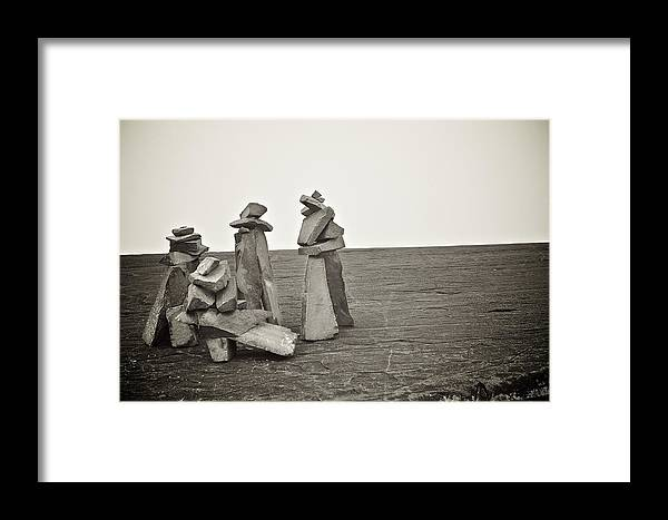 Black & White Framed Print featuring the photograph The Mysterious Rocks Of Grand Marias by Brian Waltmire
