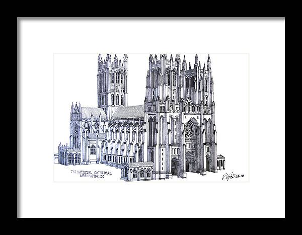 Ink Drawings Framed Print featuring the drawing The National Cathedral by Frederic Kohli