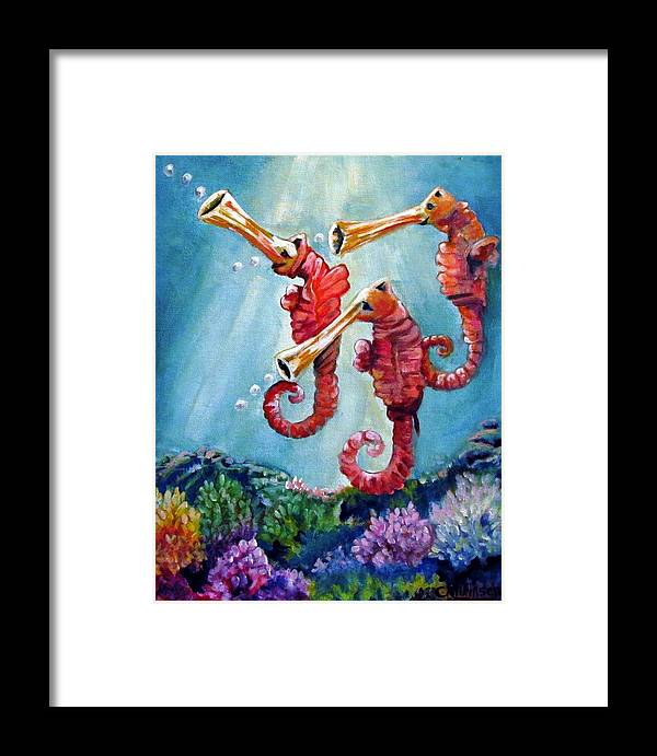 Neptunes Framed Print featuring the painting The Neptunes -- Trumpeteers by Carol Allen Anfinsen