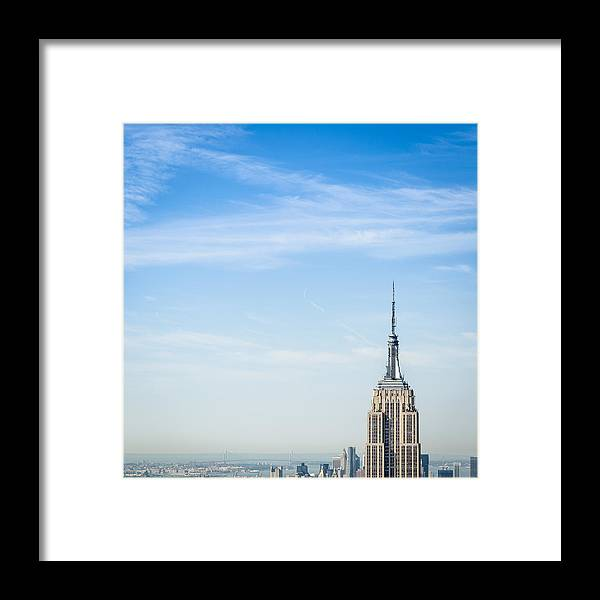 Lower Manhattan Framed Print featuring the photograph The New York City Empire State Building by Franckreporter
