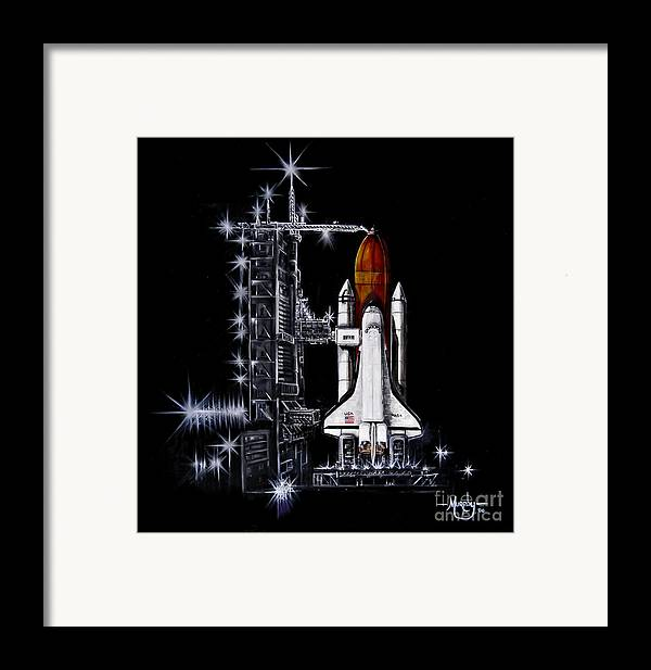 Shuttle Framed Print featuring the painting The Night Before by Murphy Elliott