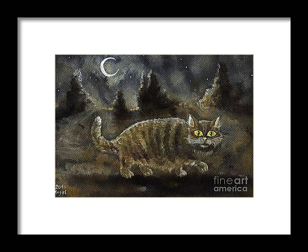Cat Framed Print featuring the painting The Night Stalker by Angel Ciesniarska