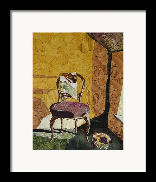 Art Quilts Tapestries Textiles Framed Print featuring the tapestry - textile The Old Chair by Lynda K Boardman