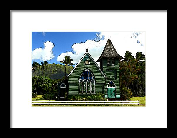 Historical Framed Print featuring the photograph The Old Church In Hanalei by James Eddy