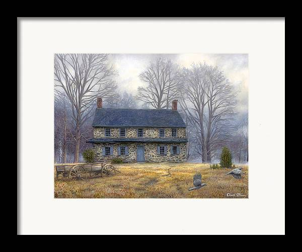 Colonial Framed Print featuring the painting The Old Farmhouse by Chuck Pinson
