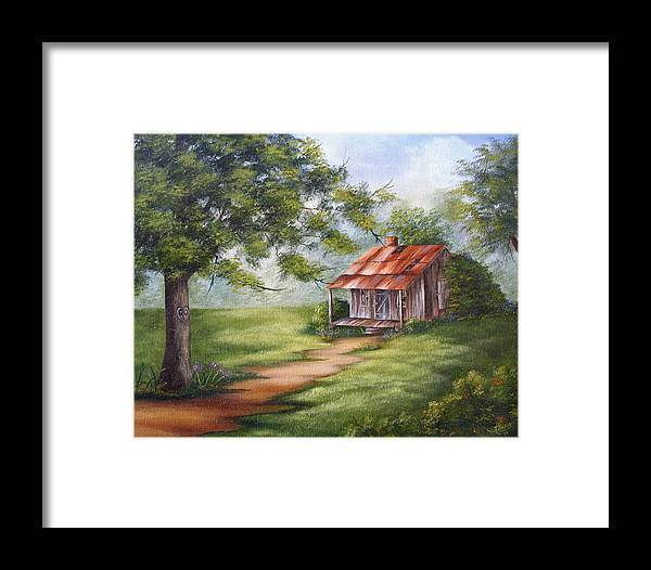 Oil Framed Print featuring the painting The Old Homestead by Ruth Bares