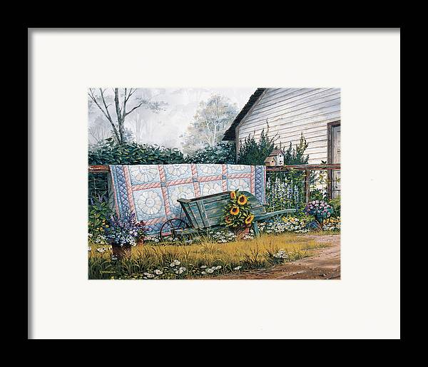 Michael Humphries Framed Print featuring the painting The Old Quilt by Michael Humphries
