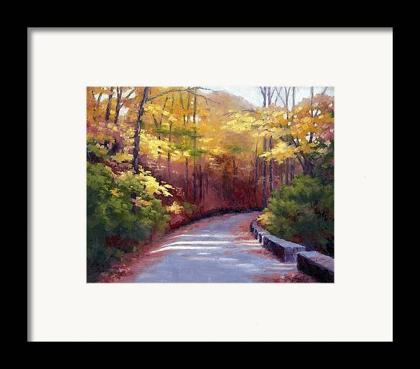 Autumn Paintings Framed Print featuring the painting The Old Roadway In Autumn II by Janet King