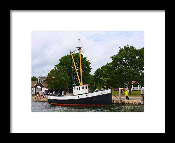 Mystic Framed Print featuring the photograph The Old Tugboat At Mystic by Dora Sofia Caputo Photographic Design and Fine Art