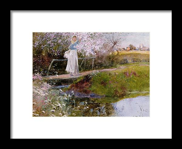 Bridge Framed Print featuring the painting The Orchard Brook by Thomas Mackay