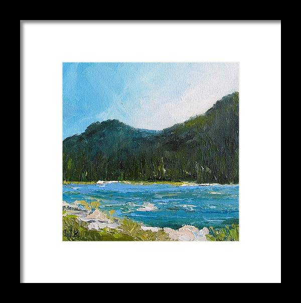Landscape Framed Print featuring the painting The Other Side Lake Chumash by Irit Bourla