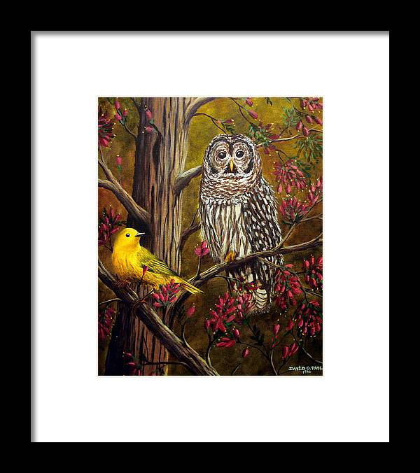 Bird Framed Print featuring the painting The Owl and the Canary by David G Paul