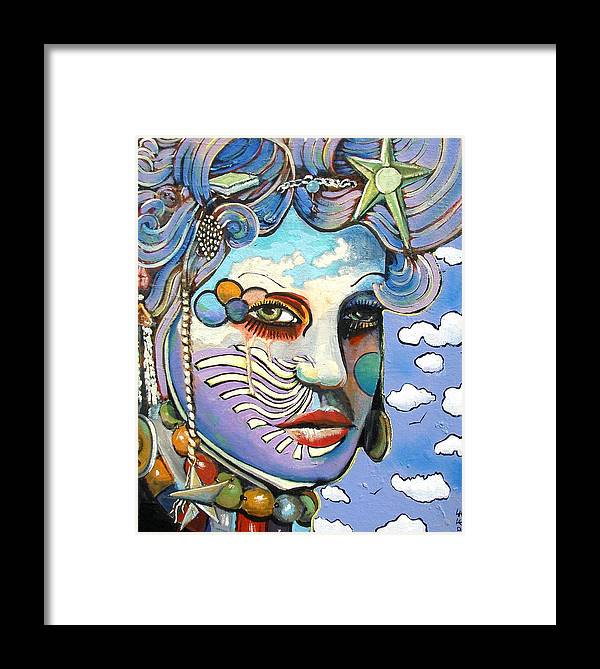 Lady Framed Print featuring the painting The Painted Lady by James Lalepop Becker